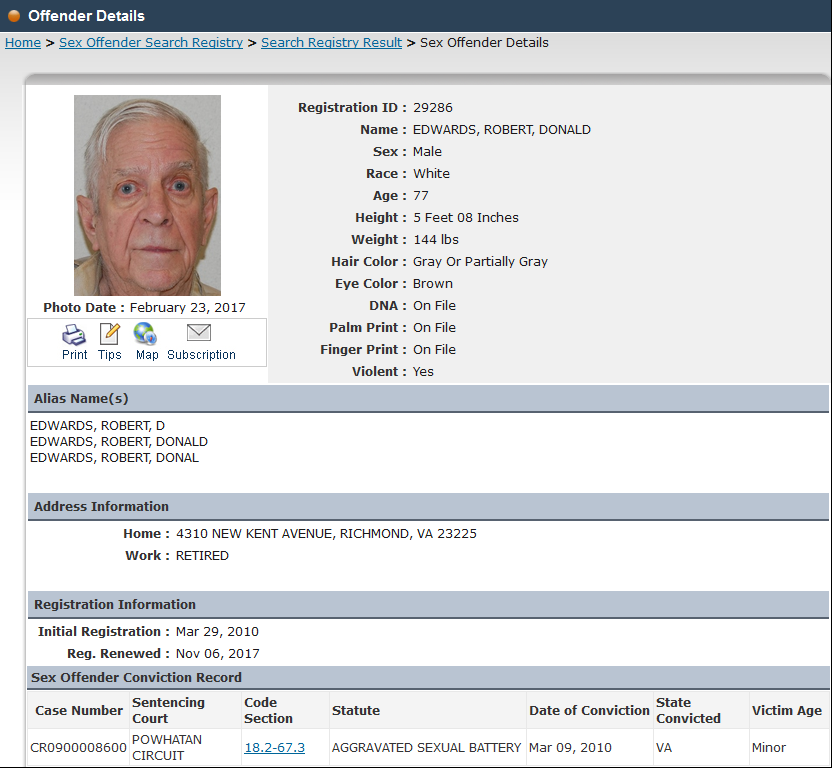 virginia state sex offender web site